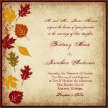 "Rustic Falling Leaves Autumn Fall Wedding Invitations with earth tone fall leaves on the side of the wedding invitation and a distressed vintage antique brown background. Just add your own wedding invitation wording to the template fields. If you need to add more lines of text, then use the ""Customize"" button. These are great for fall or autumn weddings. The back has the same leaf design with the word ""Love"" in script. fall wedding invites, autumn wedding announce..."