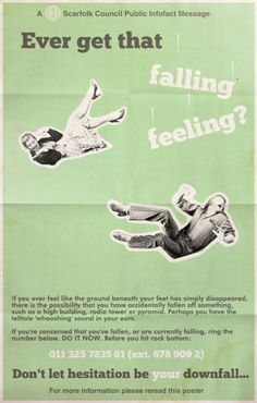 Scarfolk Public Information Poster - Ever get That Falling Feeling? Public Information, Information Poster, Bestest Friend, Life On Mars, Twisted Humor, Funny Facts, New Wave, Satire, I Laughed