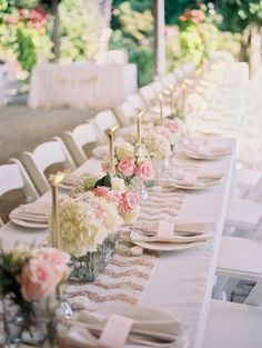Champagne Glitter Wedding Table With Chevron Table Runner.