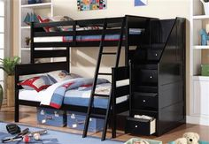 Acme Furniture - Alvis Twin/Full Bunk Bed with Storage Ladder in Black - 37365 Twin Full Bunk Bed, Bunk Beds Boys, Bunk Rooms, Bunk Bed Ladder, Bunk Beds With Stairs, Acme Furniture, Bedroom Furniture, Bedroom Wall, Kids Bedroom