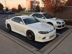 Nissan Silvia S15 and a Subaru WRX STi looking real clean in white [1024 x 768]