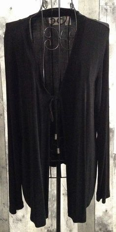 Chicos Travelers Black Tie Front Cardigan Jacket Top Blouse Size 2/Large 12 #Chicos #Top