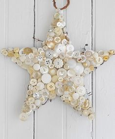 Button star. Stitch, pin or glue gun onto stuffed fabric star shape. Could also use oasis from florist and just pin on buttons. Would also work with tree (green buttons) or candy cane (red and white) shapes :)