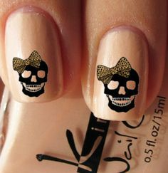 9 Best Skull Nail Art Designs : Skull with Bow Nail Art: Skull Nail Designs, Skull Nail Art, Bow Nail Art, Skull Nails, Get Nails, Love Nails, How To Do Nails, Pretty Nails, Hair And Nails