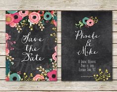 Spring Weddings Save The Date Cards / Chalkboard Card with Flowers / PRINTED 5x7 Save-The-Date Card by The Roche Shop / Bohemian Weddings