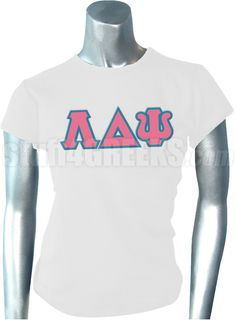 White Lambda Delta Psi t-shirt with the Greek letters across the chest.