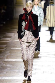 I love the way Dries used a traditional  striped university scarf and made it look anything but preppy the way he mixed everything up