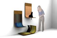 O arranhador Modern Critter pode ser usado de três formas e o carpete pode ser trocado - boa pedida para combinar o móvel com a decoração da sala. Fonte: Casa e Jardim