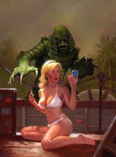 Creature from the black lagoon horror pin up Bd Comics, Horror Comics, Horror Art, Sexy Horror, Monster Art, Heroine Marvel, Arte Do Pulp Fiction, Art Pulp, Beetlejuice