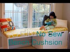 ▶ My next long awaited project. DIY No Sew Bench Cushion Seat/ Window Seat Cushion without sewing - YouTube