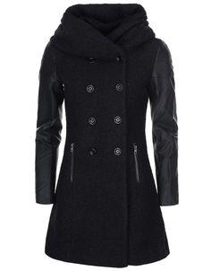 ONLY - Černý kabát s koženkovými rukávy  Lisa - 1