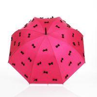 Parapluie droit fuchsia à nœuds noirs Guy de Jean