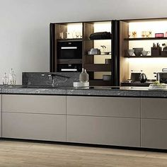"""ELLE Decoration UK on Instagram: """"There's a vogue in kitchen design right now for gallery-like display systems such as this one seen at @valcucine_kitchens See more fabulous…"""" Elle Decor, Kitchen Design, Kitchens, Vogue, Yard, Display, Cabinet, Decoration, Storage"""