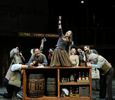 The cast of Oliver!, book, music and lyrics by Lionel Bart, directed and choreographed by Richard and Sharon Jenkins. Set design by Eugene Lee, costume design by William Lane, lighting design by Brian Lilienthal. (Photo: Mark Turek)