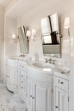 Beautiful Bathroom With Built In Light Gray Bow Front Double Vanity His And Hers