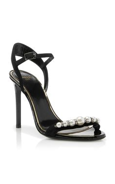 14b9c12cb53 Lanvin | Pearl-Embellished Suede Sandals - Crafted from black suede and  trimmed with a
