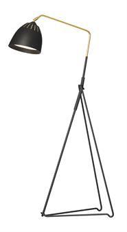 Lean är en stilren golvlampa med retrokänsla, designad av Jenny Bäck för Örsjö Belysning. Strukturlackad i vitt eller svart med arm i rå mässing. Lean har en industriell touch som uttrycks i en del av konstruktionen i form av en gummislang med bokstäver och siffror.