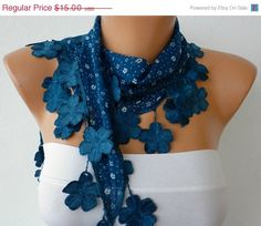 Teal Scarf   Cotton Scarf  with Lace Edge  Multicolor by fatwoman, $13.50