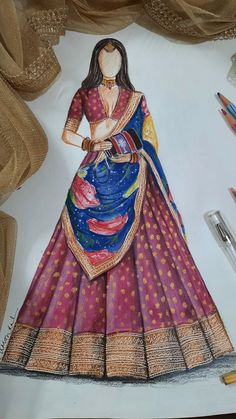 Sketch Fashion, Fashion Design Sketchbook, Fashion Design Drawings, Fashion Art, Fashion Outfits, Fashion Illustration Dresses, Fashion Illustrations, Doodle Art Designs, Designs To Draw