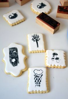 Técnica para decorar galletas con sellos. How to decorate cookies using stamps.