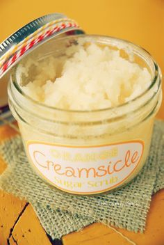 creamsicle sugar scrub...YUM!!  1/4  cup Coconut oil, melted in microwave.  Add 1 t. Vanilla extract and 10 drops orange essential oil.  Mix well.  Mix in 3/4 cup sugar, 1/4 cup at a time.