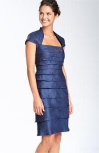 Adrianna Papell Tiered Satin Dress with Attached Bolero Sheath Dress, Bodycon Dress, Satin Dresses, Formal Dresses, Tiered Dress, Adrianna Papell, Wedding Attire, Mother Of The Bride, Cap Sleeves