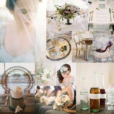 Gray White Blue Garnet Wedding Colors