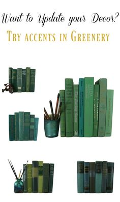 Green Decorative Book Sets curated with vintage books.  Bookshelf decorating ideas for rustic country home decor, magnolia home decor, and farmhouse design. Decorative books by color with vintage books for decoration.  These books are real books and are shelf ready and ready for reading!