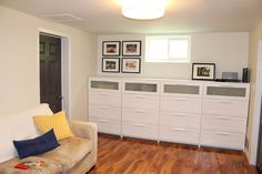 Simcoe Street: Basement with Ikea Brimnes dressers for storage
