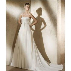 Chiffon Strapless A line Skirt with Chapel Train Hot Sell Zipper with Buttons Simple Wedding Gowns WD-0408