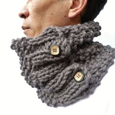 Men's Cowl Gray Handknitted Cowl scarf neckwarmer by moaningminnie