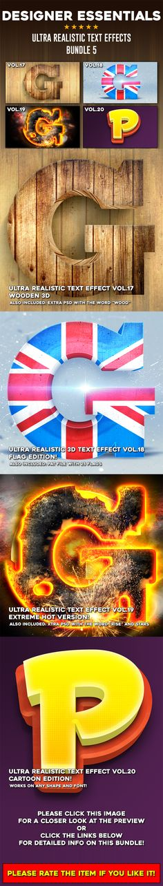 #Ultra Realistic Text Effect Bundle Vol.5 - #Text Effects #Actions