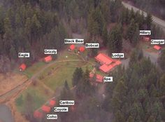 The layout of our various chalets at Tweedsmuir Park Lodge, home of Bella Coola Heli Sports.