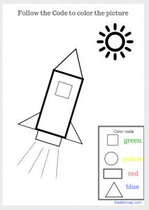 Worksheet: Color with a code ACTIVITY: Follow the code to color the picture #coloring #rocket #shapes #colors #kindergarten #preschool #colorwithcode #Codingforkids