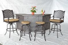 Nassau Cast Aluminum Powder Coated 5pc Outdoor Patio Set with Party Bar - Antique Bronze. 15-year Frame Limited Warranty. Solid Cast Aluminum Frame - Non Rust Guarantee - Classic, Beautiful, yet Comfortable and Durable. Five Stage Powder Coated Finish is Best In Class for Cast Aluminum Furniture - Elegant Antique Bronze Finish. Theworldofpatio is the ONLY seller with the authentic products. Includes: (2) Nassau barstools, (2) Bare barstools, (1) Nassau party bar with (4) cushions.