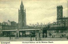 Overhead railway and St Nicholas church,Liverpool