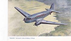 """SALAMIS"" in Flight over Kyrenia,Cyprus; Cyprus Airways airplane, 1940-50s"