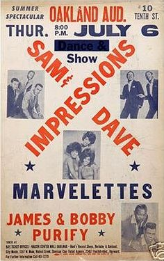 Classic Soul Concert Poster — Sam & Dave, The Impressions, The Marvelettes and James & Bobby Purify