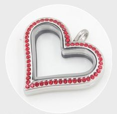 Red Rhinestone Classic Style Heart LocketSilvertone, comes with matching 22-26 inch rolo chain with lobster claspMade of Alloy