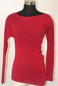 AUTHENTIC MAX MARA SEXY RED ASSYMETRICAL LONG-SLEEVED TOP S HOLIDAY PARTY PERF!