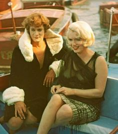 Marilyn and Tony Curtis on the set of Some Like It Hot