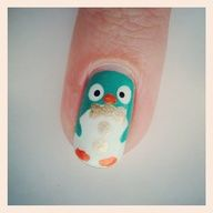 This may be the cutest thing ever! Summer penguin nail art featuring Zoya Nail Polish in Zuza