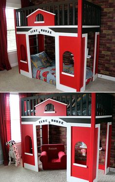 DIY: Fire House Loft Bed (For this bed's building plans and materials list, clic. Fire Truck Bedroom, Pirate Bedroom, Ideas Hogar, Kids Bunk Beds, Kids Wood, Kids Furniture, Bedroom Furniture, Furniture Online, Furniture Stores