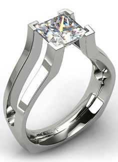 White Gold Split Shank V-Tip Tension Set Engagement Ring --- for some reason, a perfectly flat, square jewel fascinates me and makes me think of a fantasy rpg Diamond Rings, Diamond Jewelry, Jewelry Rings, Split Shank Engagement Rings, Bijoux Design, Love Ring, Or Antique, Anniversary Rings, Beautiful Rings