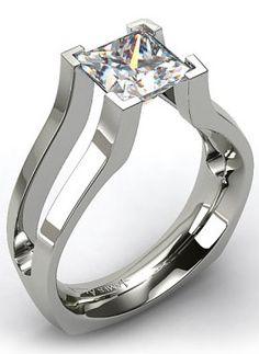 princess cut, split shank engagement ring