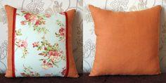 Floral Orange Linen Decorative Pillow Cuchion