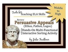 Persuasive Appeals (Ethos, Pathos, Logos) Review Worksheet Alternative Activity - Great for interactive notebooks!
