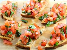 Best Tomato Recipes An antipasto that is best enjoyed over a few glasses of wine with friends. - Mary Helen lived in Italy for some time and came back with some great recipes . Bread Appetizers, Appetizer Recipes, Appetizer Ideas, Party Recipes, Seafood Recipes, Cooking Recipes, Healthy Recipes, Baked Parmesan Tomatoes, Bruschetta Toppings