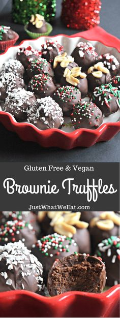 Brownie Truffles - These gluten free, vegan, rich, and fudgy brownie truffles are one of my favorite Christmas time treats. There are just so many options and you can decorate them in so many different types of cute garnishes.