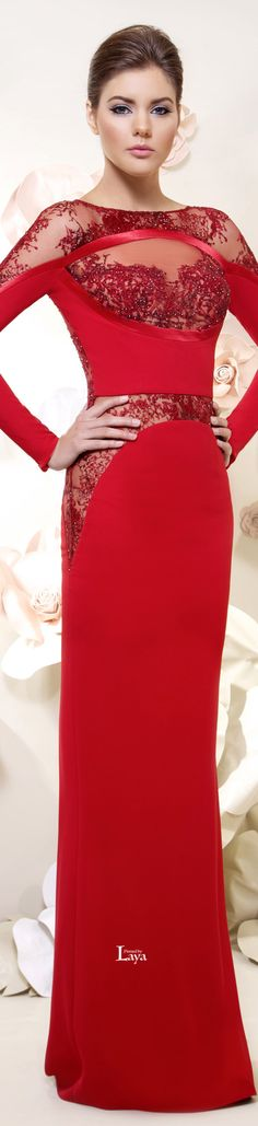Tarek Sinno ~ Haute Couture Red Long Sleeve Gown w Sheer Lace Insets 2015 Red Fashion, Look Fashion, Couture Fashion, Runway Fashion, Evening Dresses, Prom Dresses, Formal Dresses, Long Dresses, Elegant Dresses
